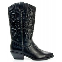 New Soda Reno-S Vegan Pointy Toe Embroidered Western Boots BLACK