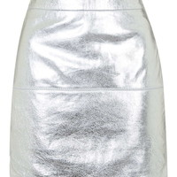 **Metallic Silver Leather Skirt By Kendall + Kylie at Topshop - Topshop
