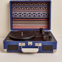 Navy Aztec Battery Powered Portable Turntable