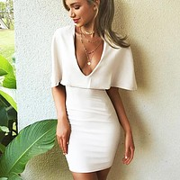 Summer New Fashion V Neck Solid Color Leisure Short Sleeve Dress White