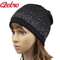 2016 Geebro Fashion Female Winter Slouchy Diamond Beanies Skullies Women Mother Daughter Parentage Match Beanies Hat JS255-1