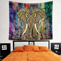 Magical Thinking Boho Black White Elephant Tapestry