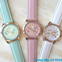 2015 New Designed Women's Fashion Geneva Roman Numerals Analog Quartz Luxury Leather Watches  5ETC