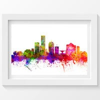 Milwaukee Wisconsin Skyline In Color Poster, Home Decor, Gift Idea 02