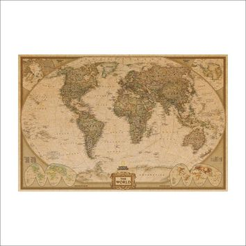 Great Retro World Map Of Kraft Paper Old Wall Stickers Poster Life Art Craft Brand Cafe Bar Wallpaper 72X47 Centimeters