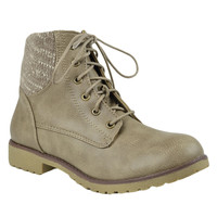 Womens Ankle Boots Knitted Ankle Lace Up Casual Riding Shoes Taupe