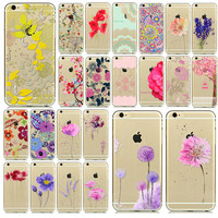 """Romantic Flowers Soft Silicon Phone Cases For Apple iPhone iPhone 6 6S 4.7""""  funds Coque Capa Para celular Shell DZLL PW-QQ"""