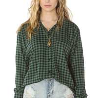 See You Monday Shirt Checkered Blouse in Green