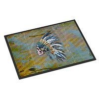Day of the Dead Indian Chief Skull  Indoor or Outdoor Mat 18x27 BB5128MAT