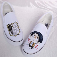 attack on titan anime shoes attack on titan slip-on shoes attack of titan shoes custom slip-on shoes