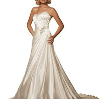 Strapless Satin Bridal Gown 18916, Ivory, 6