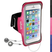 "iGadgitz Reflective Anti-Slip Pink Sports Jogging Gym Armband for Apple iPhone 6 & 6S 4.7"" with Key Slot"