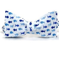 Fish Bowtie, blue white bowtie, aquatic bowtie, nautical bowtie, tiny fish, mens bowtie, fish bow tie, mens fish bowtie