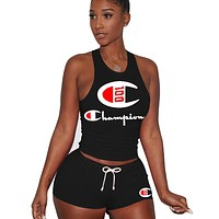 Champion Fashion New Summer Letter Print Vest Sports Leisure Top And Shorts Two Piece Suit Women Black