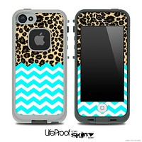 Mixed Cheetah Print and Turquoise Chevron Pattern Skin for the iPhone 5 or 4/4s LifeProof Case