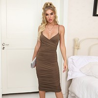 fhotwinter19 Sexy Halter Long Slim Sling Low-cut Hip Dress