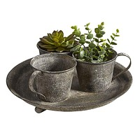 Metal Flower Pot Planter | Vintage Look | Holds 3 Plants