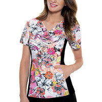 Flexibles by Cherokee Women's V-Neck 2-Pocket Tunic with Contrast Side Panels Print Scrub Top