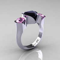 Nature Classic 10K White Gold 2.0 Ct Heart Black Diamond Light Pink Sapphire Three Stone Floral Engagement Ring Wedding Ring R434-10KWGLPSBD