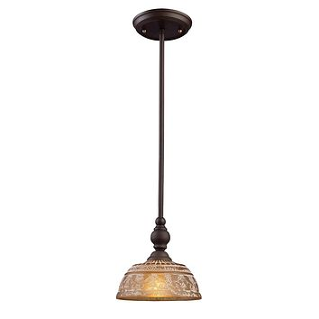 Norwich 1-Light Mini Pendant in Oiled Bronze with Amber Glass