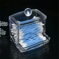 Clear Acrylic Q-tip Holder Box Empty Cotton Swabs Stick Storage Cosmetic Makeup Case (Size: 9cm by 9.5cm by 8cm) = 1930421188