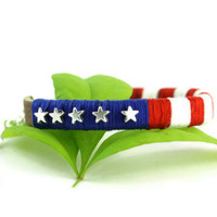 Patriotic USA Bracelet, Patriotic Jewelry, Red White Blue, Leather Handmade USA Bracelet, American Flag Jewelry, July 4th, Independence Day