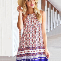 Geometric Print Halter A-Line Mini Dress