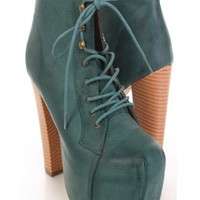 Green Faux Leather Lace Up Tie Chunky Heel Booties - Booties - SHOES