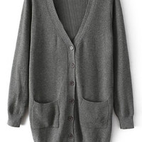 ROMWE Split Pocketed Slim Sheer Grey Cardigan