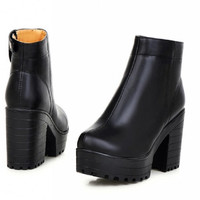 New Womens Chelsea Chunky Heel Platform Cowboy Western Ankle Boots Shoes 43 High Heel Casual Punk Martin Boots Alternative Measures