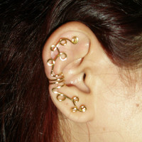 wire wraped earcuff gold or silver /big wire wrapped earcuff earrings