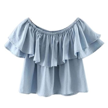 Blue Off Shoulder Ruffle Hem Blouse