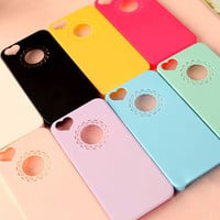 Loving Heart Flower Lace Hard Phone Case Cover For apple iphone 5 5s 4 4S