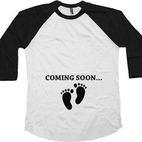 Coming Soon Pregnancy Reveal Maternity Gifts American Apparel Pregnancy Announcement 3/4 Sleeve TShirt Maternity Baseball Raglan Tee - SA175