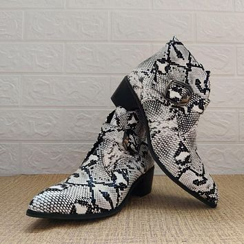 Women's Serpentine High Heeled Ankle Boots