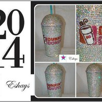 Custom Dunkin Donuts Bling Rhinestone Cup with Bubble Lid 16oz