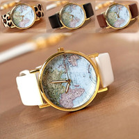 New Leather Watches With World Map Watch Dial Unisex Watches Wrist watch 4 colors Black/ White/ Coffee/ Leopard18539 = 1712798788