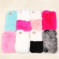 iPhone 5C Case, Bling Diamond Fluffy Cover [Genuine Rex Rabbit Fur Case] Winter Wammer Handmade Soft Crystal Case Caselo 3 Pieces Accessories For iPhone 5C (ONLY FIT for iPhone 5C), Extremely Luxury Bling Cover + Free Stylus Pen + Free Screen Protector Fil