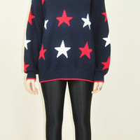 20% OFF VINTAGE 80s 90s navy stars patriotic americana USA oversized fit grunge indie jumper sweater