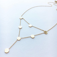 Gold Disc Necklace • Choker Circle Necklace • Coin Necklace • Gold Circle Necklace • Statement Necklace • Double Strand Necklace | 0282NM