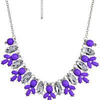 Purple Stone and Tapered Diamond Shaped Crystal Stones Statement Necklace