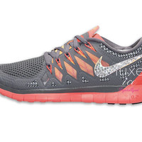 NIKE Free 5.0 2014 running shoes w/Swarovski Crystals - Cool Grey/Atomic Mango/Laser Crimson/Wolf Grey