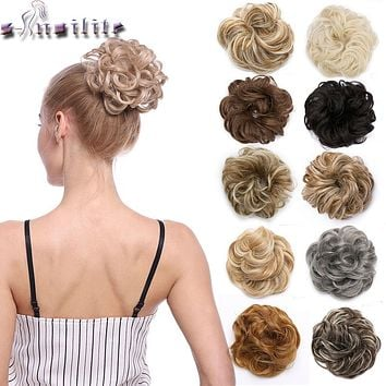 Snoilite 35color elastic band chignon hair extension synthetic Scrunchies bun hair Updo donut fake hair hairpiece for women