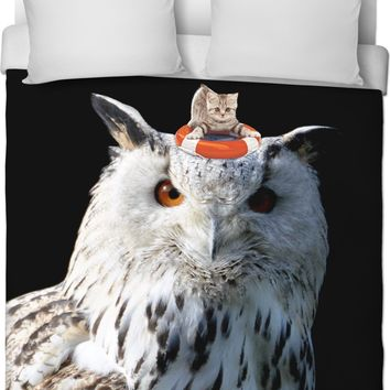 Cats and Owls Duvet Cover