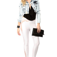 Washed Out and Shredded Cropped Denim Jacket