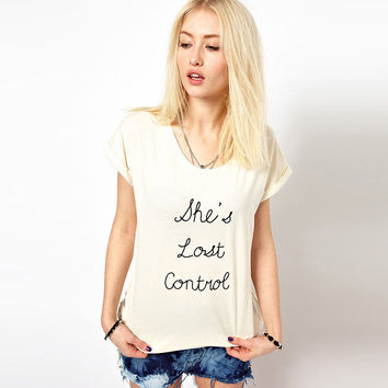 White She's Lost Control Graphic Tee