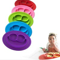 Food Grade Silicone Baby Kids Dish Plate Smile Face Placemat Bowl Tray Meal Fruits Snacks Tableware