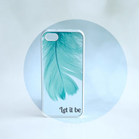 SALE Inspirational Song Lyrics + Mint Feather Rubber Silicone iPhone Case