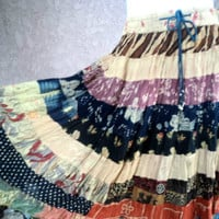 Vintage Skirt Broomstick Rayon Patchwork 90s Mini Drawstring Hippie S M L 28 to 38 Waist