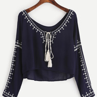 Navy Embroidered Tassel Tie Neck High Low Blouse